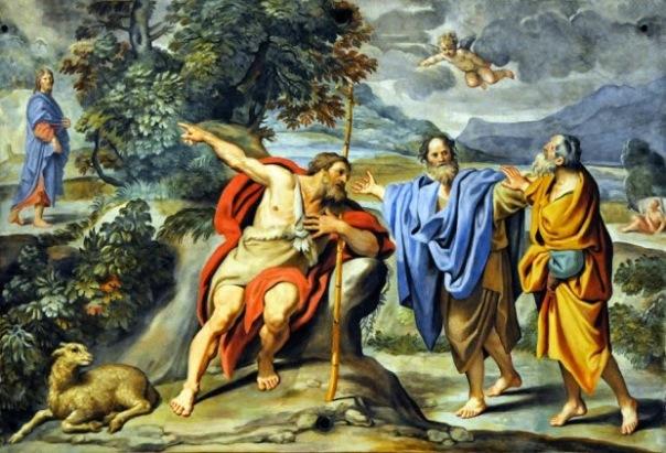 Resultado de imagen para Texto del Evangelio (Jn 1,35-42): En aquel tiempo, Juan se encontraba de nuevo allí con dos de sus discípulos. Fijándose en Jesús que pasaba, dice: «He ahí el Cordero de Dios».