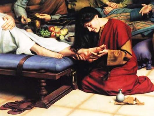 Resultado de imagen para maria de betania le unge los pies a jesús