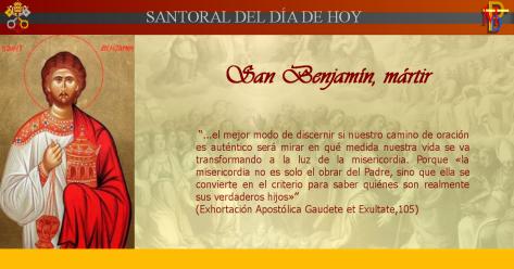 Misioneros de la Palabra Divina: SANTORAL - SAN BENJAMÍN MÁRTIR